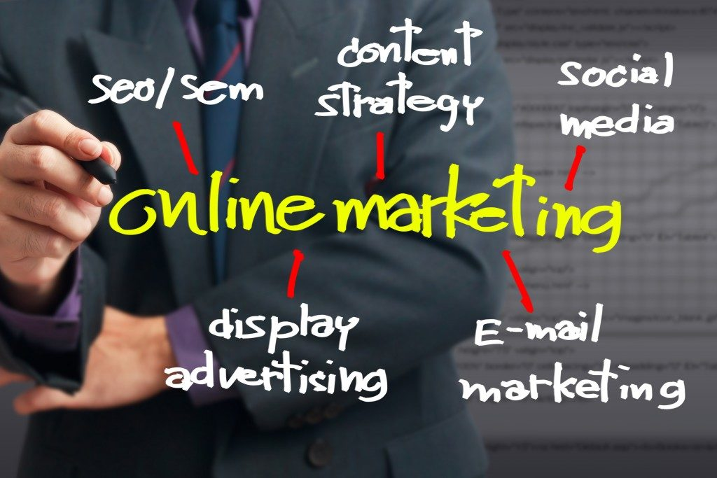 Businessman pointing at On line Marketing word for Online business concept