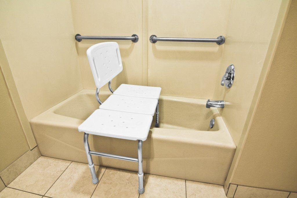 grab rails and chair in the bathroom