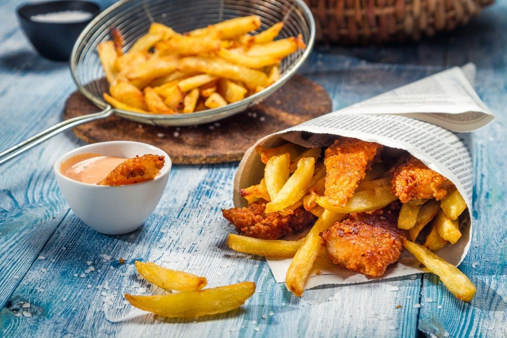 fried chicken nuggets and fries