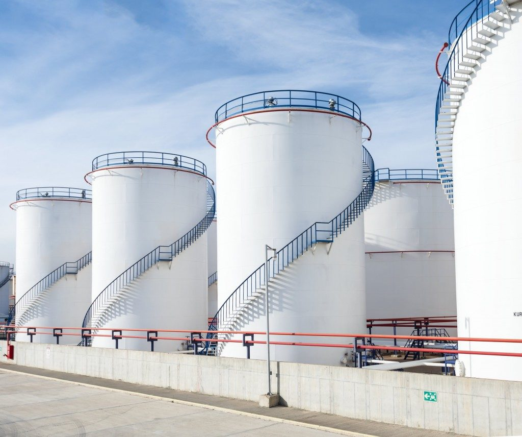Large tanks of oil and gas factory