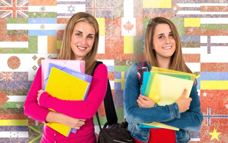 students with flags background