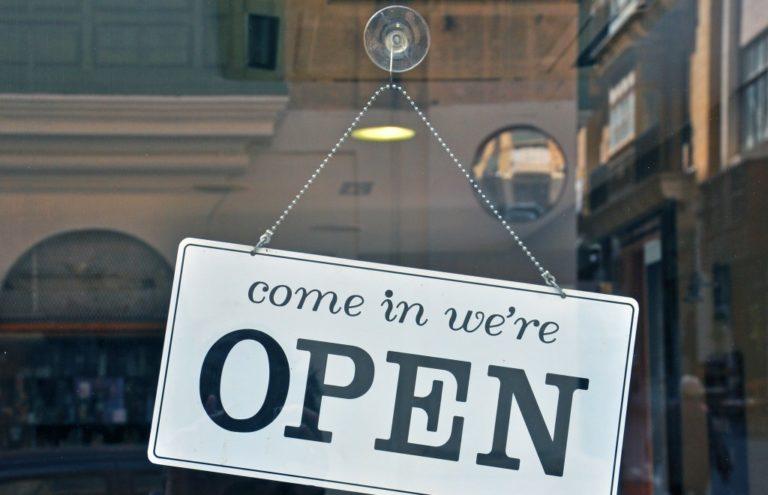 open sign on the door
