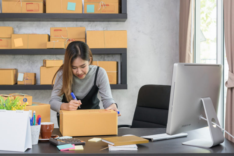 woman with online business